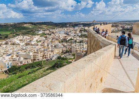 Victoria, Malta - November 9, 2017: View From The Cittadella, Citadel Of Victoria, Gozo Island, Malt