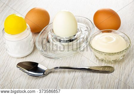 Salt Shaker, Brown Unpeeled Boiled Eggs, Peeled Egg On Glass Egg Stand, Transparent Bowl With Mayonn