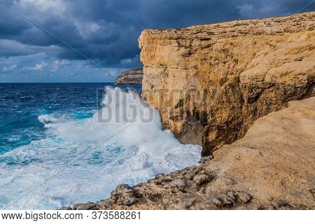 Cliffs Of Dwejra, Location Of The Collapsed Azure Window On The Island Of Gozo, Malta