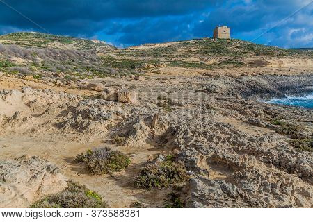 Dwejra Tower On The Island Of Gozo, Malta