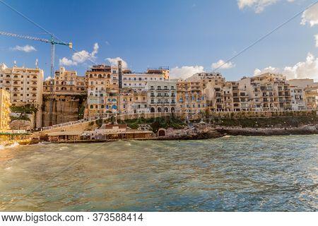 Waterfront In Xlendi Town On The Island Of Gozo, Malta