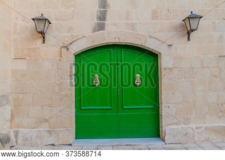 Old Door In The Fortified City Mdina In The Northern Region Of Malta