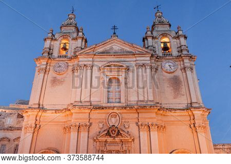 St. Pauls Cathedral In The Fortified City Mdina In The Northern Region Of Malta