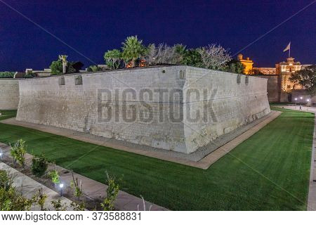 Walls Of The Fortified City Mdina In The Northern Region Of Malta