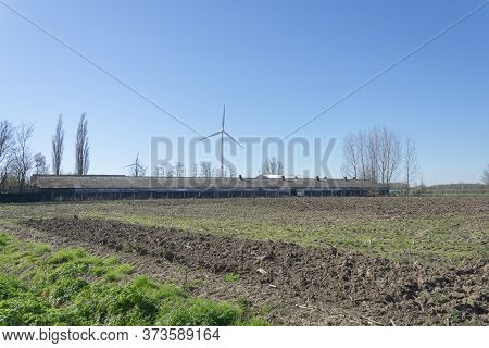 Sint Gillis Waas, Belgium, March 22, 2020, Very Long Shed In A Field With Asbestos Plates As Roof An