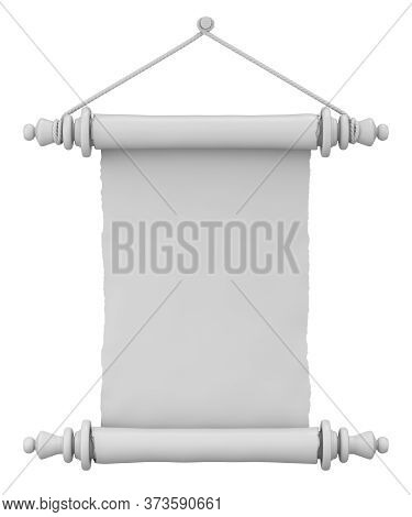 Clay Render Of Vintage Scroll Paper Isolated On White Background - 3d Illustration