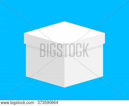 Gift Box Square White For Template Design, Closed Box White Isolated On Light Blue, Single White Cas