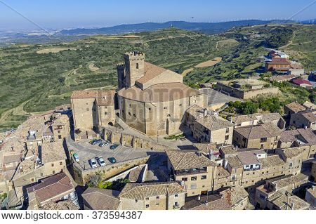 Spanish Town Ujue (uxue In Basque) And Its 12th Century Fortified Church In Navarre, Spain