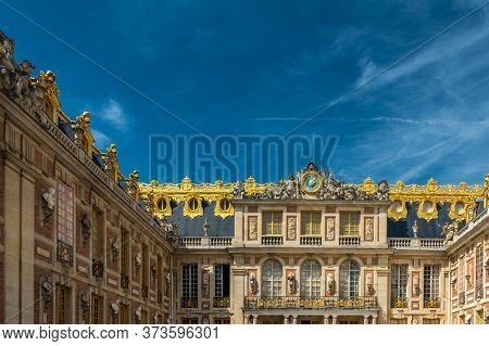 Visiting The Palace Of Versailles, A Royal Chateau In Versailles, France. Marble Court. It Was Added