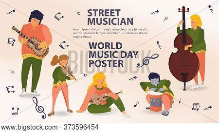 Set Of People Playing Musical Instruments, Guitar, Violin, Double Bass, Men And Women, Street Musici