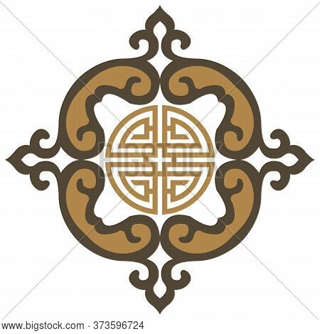 Oriental Isolated Pattern Object Spiral Curve Cross Frame Tracery Chain