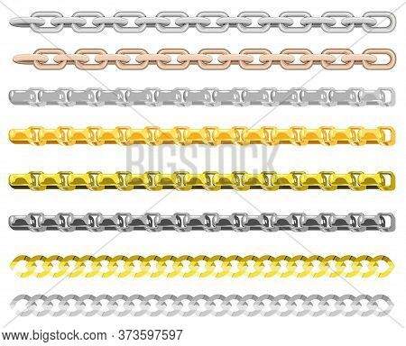 Chains Of Different Metals. Gold And Silver Chains Elements, Vector Golden Jewellery Endless Objects