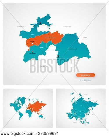 Editable Template Of Map Of Tajikistan With Marks. Tajikistan On World Map And On Asia Map.
