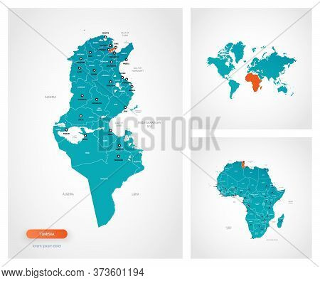 Editable Template Of Map Of Tunisia With Marks. Tunisia On World Map And On Africa Map.