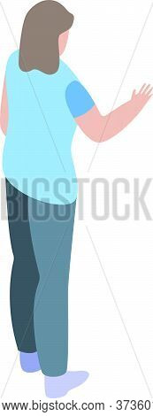 Girl Shop Assistant Icon. Isometric Of Girl Shop Assistant Vector Icon For Web Design Isolated On Wh