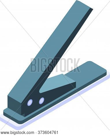 One Hole Puncher Icon. Isometric Of One Hole Puncher Vector Icon For Web Design Isolated On White Ba