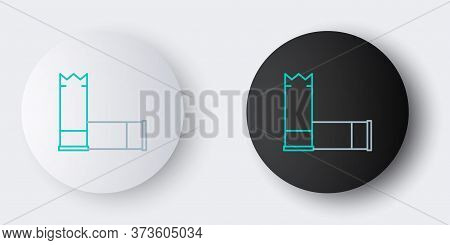 Line Cartridges Icon Isolated On Grey Background. Shotgun Hunting Firearms Cartridge. Hunt Rifle Bul