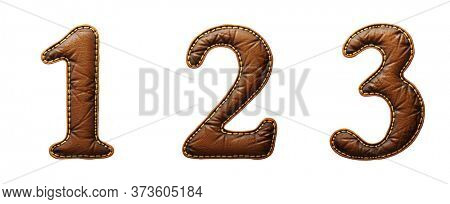 Set of numbers 1, 2, 3 made of leather. 3D render font with skin texture isolated on white background. 3d rendering