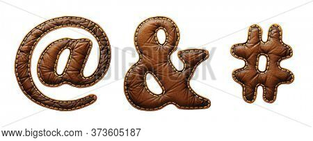 Set of symbols at, ampersand, hash made of leather. 3D render font with skin texture isolated on white background. 3d rendering