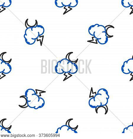 Line Storm Icon Isolated Seamless Pattern On White Background. Cloud With Lightning And Moon Sign. W