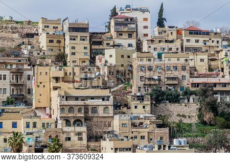View Of Houses On Hills In The Center Of Amman, The Capital Of Jordan