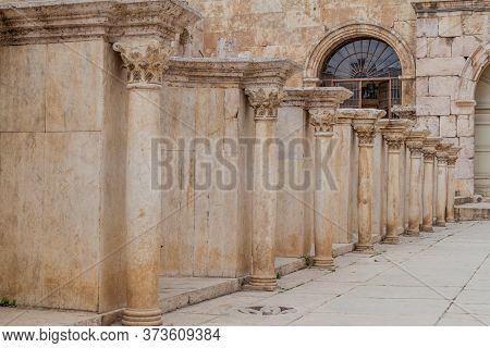 Columns At The Roman Theatre In Amman, Jordan