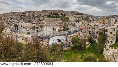 Amman, Jordan - March 19, 2017: Panorama Of Amman Downtown With The Roman Theatre, Jordan.
