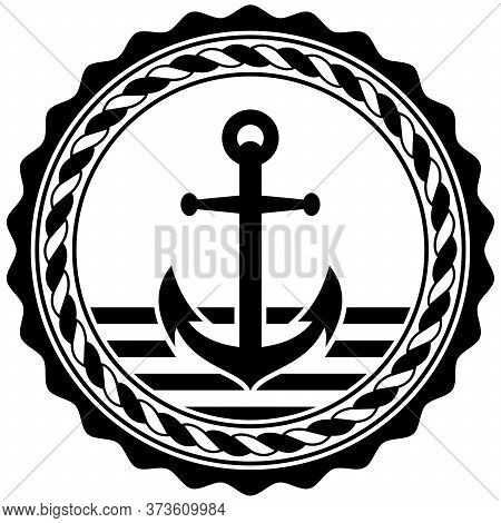 Nautical Anchor Symbol Vector With Nautical Rope In Black Color On Isolated White Background.