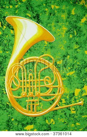 French Horn On Green And Gold
