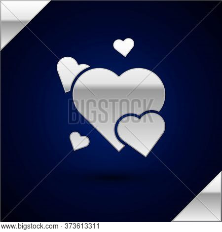 Silver Heart Icon Isolated On Dark Blue Background. Romantic Symbol Linked, Join, Passion And Weddin