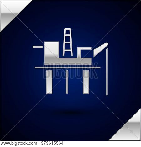 Silver Oil Platform In The Sea Icon Isolated On Dark Blue Background. Drilling Rig At Sea. Oil Platf