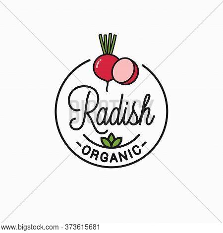 Radish Slice Logo. Round Linear Logo Of Radish