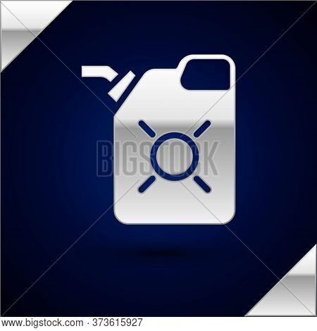 Silver Canister For Motor Machine Oil Icon Isolated On Dark Blue Background. Oil Gallon. Oil Change