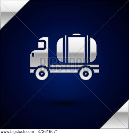 Silver Tanker Truck Icon Isolated On Dark Blue Background. Petroleum Tanker, Petrol Truck, Cistern,