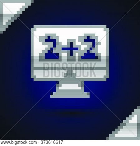 Silver Math System Of Equation Solution On Computer Monitor Icon Isolated On Dark Blue Background. V