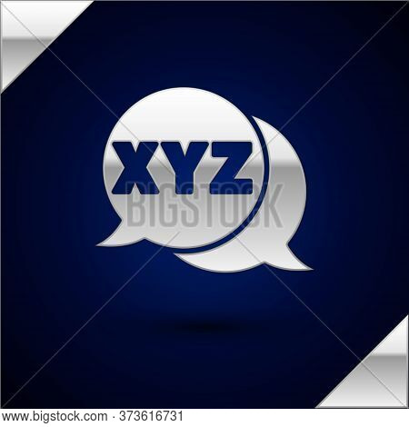 Silver Xyz Coordinate System Icon Isolated On Dark Blue Background. Xyz Axis For Graph Statistics Di
