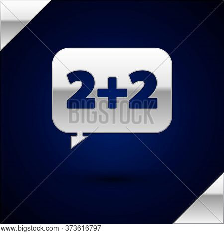 Silver Math System Of Equation Solution On Speech Bubble Icon Isolated On Dark Blue Background. Vect