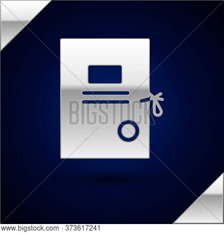Silver Lawsuit Paper Icon Isolated On Dark Blue Background. Vector Illustration