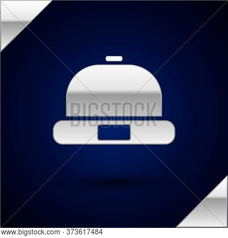 Silver Beanie Hat Icon Isolated On Dark Blue Background. Vector Illustration