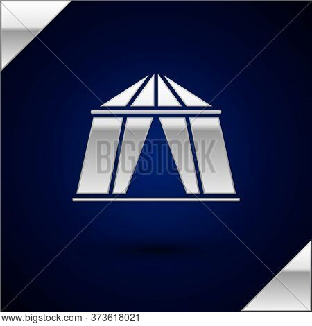 Silver Circus Tent Icon Isolated On Dark Blue Background. Carnival Camping Tent. Amusement Park. Vec