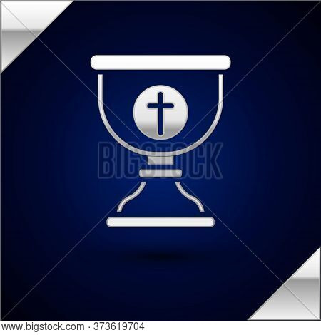 Silver Christian Chalice Icon Isolated On Dark Blue Background. Christianity Icon. Happy Easter. Vec