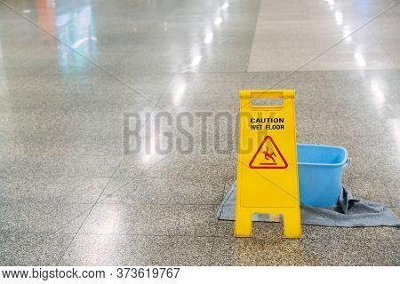 Cleaning Progress Caution Or Warning Wet Floor Sign In Office