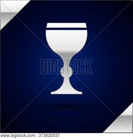 Silver Wine Glass Icon Isolated On Dark Blue Background. Wineglass Icon. Goblet Symbol. Glassware Si