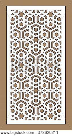 Laser Cutting Vector Panel Template. Cnc Decor Pattern, Jali Design, Interior Partition. Islamic, Ar