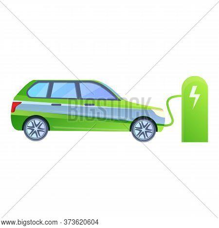Hybrid Car Charge Station Icon. Cartoon Of Hybrid Car Charge Station Vector Icon For Web Design Isol
