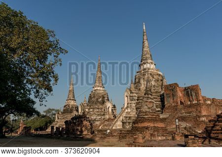 Ayutthaya Unesco World Heritage Site, Old Ruins Of Siam Temples. Wat Phra Si Sanphet Building Ruins,