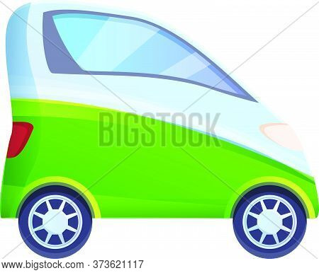 One Person Hybrid Car Icon. Cartoon Of One Person Hybrid Car Vector Icon For Web Design Isolated On