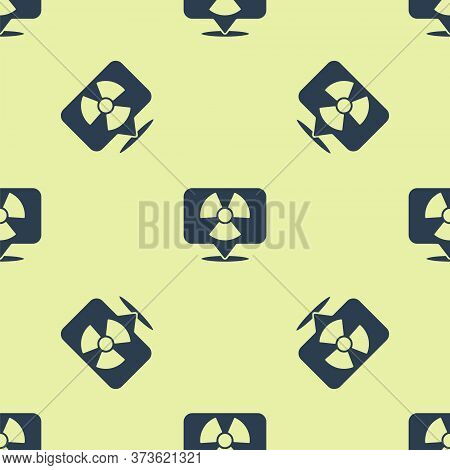 Blue Radioactive In Location Icon Isolated Seamless Pattern On Yellow Background. Radioactive Toxic