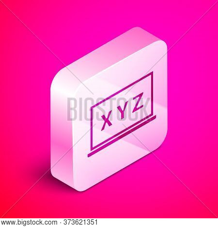 Isometric Xyz Coordinate System On Chalkboard Icon Isolated On Pink Background. Xyz Axis For Graph S