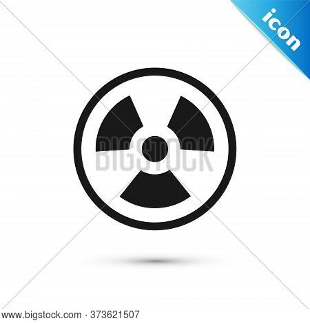 Grey Radioactive Icon Isolated On White Background. Radioactive Toxic Symbol. Radiation Hazard Sign.